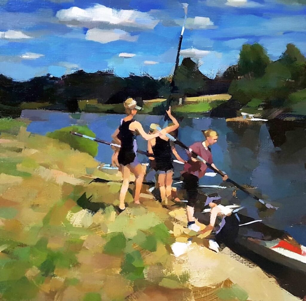 Rowers on the Stour | Oil on Panel | 13.75″ x 13.75″ | SOLD