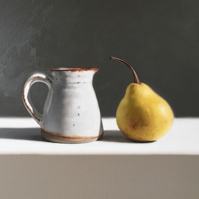 Jug and Pear | Oil on Canvas | 8.25 x 8.25 inches | £1795